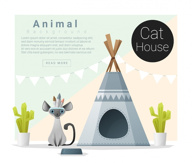 Cute animal collection cat house