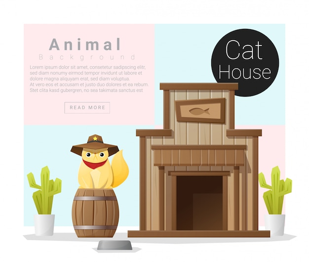 Cute animal collection, cat house