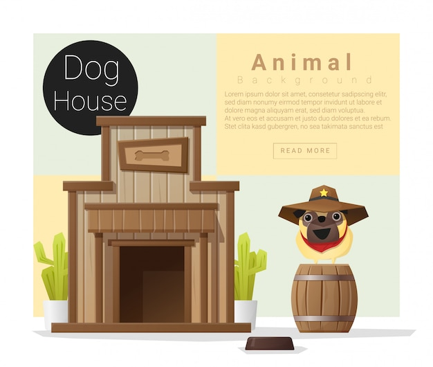 Cute animal collection, dog house