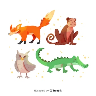 Cute animal collection with alligator