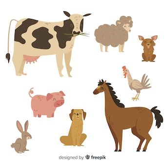 Cute animal collection with cow