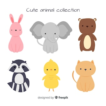 Cute animal collection with elephant