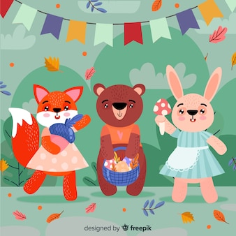 Cute animal collection with leaves and garland