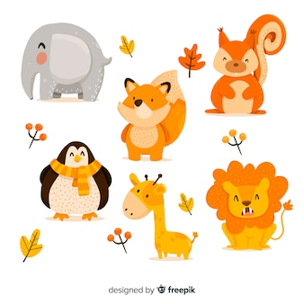 Cute animal collection with leaves