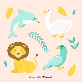Cute animal collection with lion, dolphin and birds