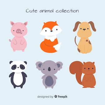 Cute animal collection with panda