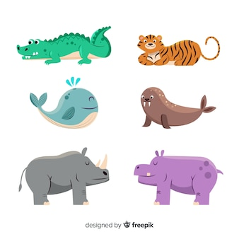 Cute animal collection with rhino
