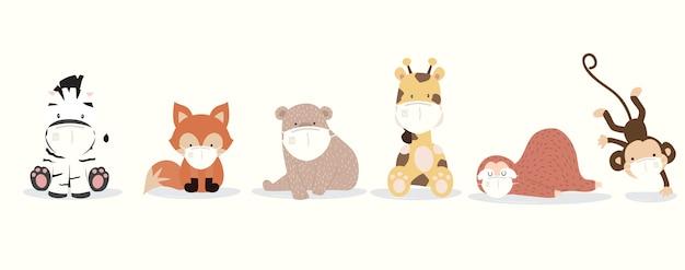 ナマケモノ、キリン、キツネ、シマウマ、サル、クマのかわいい動物のコレクションは、マスクを着用します。