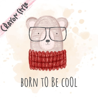 아이들을위한 귀여운 동물 멋진 곰 크레용 스타일 일러스트