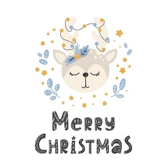 Cute animal deer in scandinavian style with lettering  merry christmas