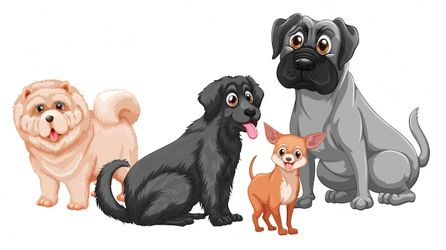 白い背景で隔離のかわいい動物犬グループ