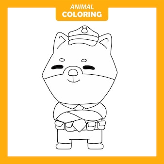 귀여운 동물 개 경찰 직업 직업 색칠 페이지