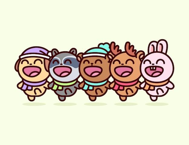 Милые животные, собачка, енот, медведь, олень, кролик, танцуют и поют вместе в рождественском дне иллюстрация