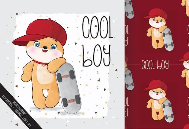 Cute animal doggy pug happy with skateboard seamless pattern