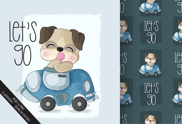 車のシームレスなパターンでかわいい動物の犬のパグ