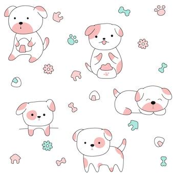 Cute animal dogs seamless pattern hand drawn style.