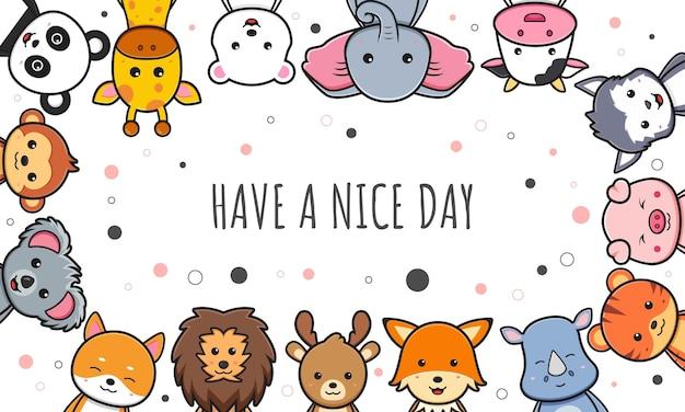 Cute animal doodle banner background wallpaper icon cartoon illustration design isolated flat cartoon style