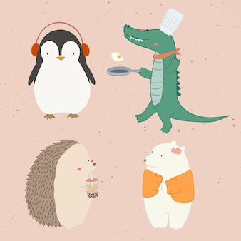 Cute animal doodle elements collection vector