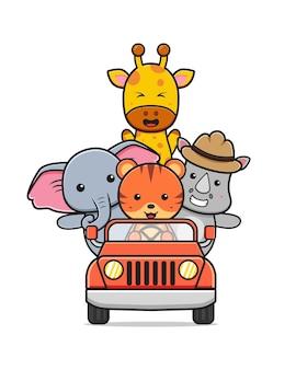お祝いの世界動物の日漫画アイコンイラストフラットスタイルのかわいい動物の運転車