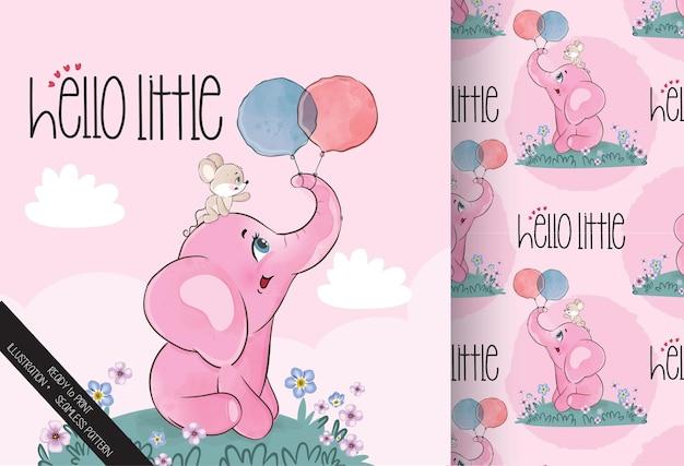 かわいい動物の象と友達のシームレスなパターン