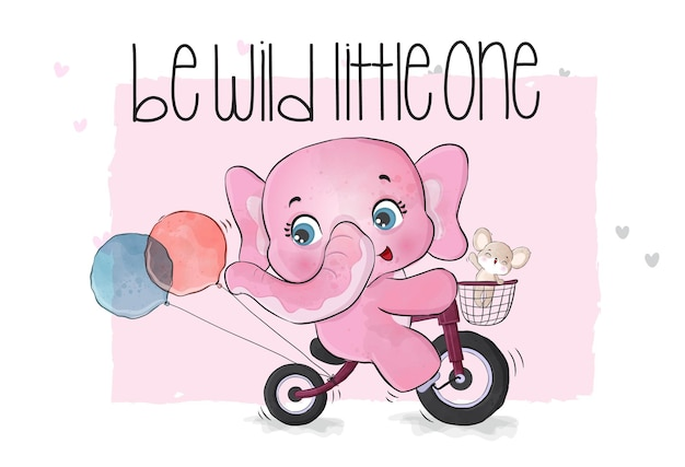 Cute animal elephant riding bicycle illustration