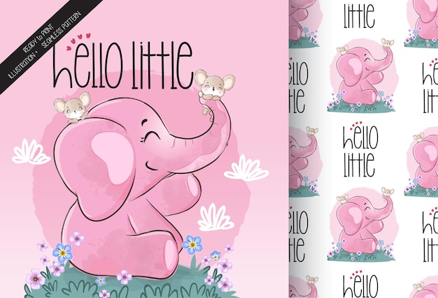 Cute animal elephant with baby mouse seamless pattern