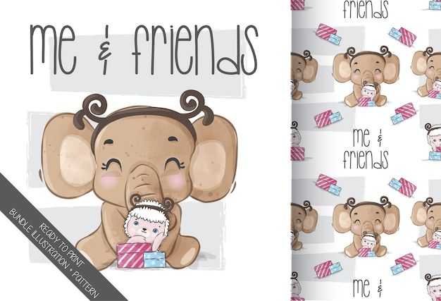Cute animal elephant with baby sheep seamless pattern