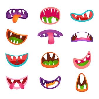 Симпатичные выражения лица животных и эмоции. забавный мультяшный монстр комический рот. значок рот монстра и мультфильм маунт с зубами
