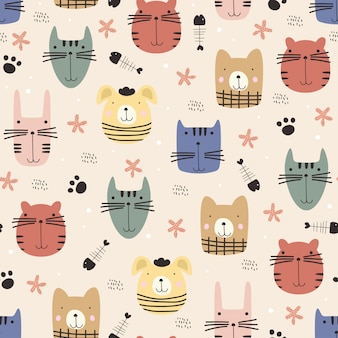 Cute animal face seamless pattern with scandinavian pastel colors