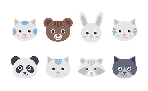 かわいい動物の顔。猫、ウサギ、クマ、パンダ、アライグマのキャラクター。フラットなデザインで動物の頭を設定します