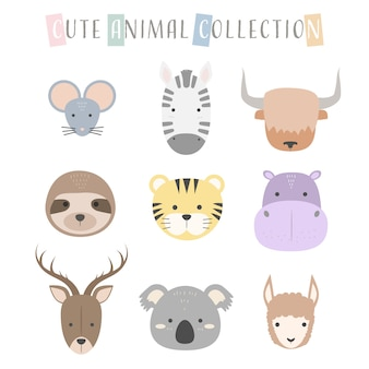 Cute animal faces character icon pastel cartoon doodle