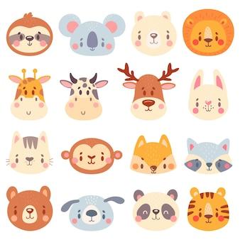 귀여운 동물 얼굴. 색상 동물 초상화, 귀여움 호랑이, 재미 있은 토끼 머리와 재미 있은 여우 얼굴 그림 세트.