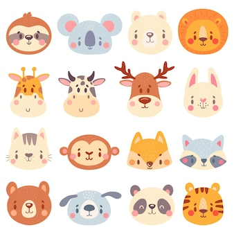 Cute animal faces. color animal portraits, cuteness tiger, funny bunny head and funny fox face illustration set.