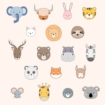 Cute animal faces icon collection cartoon doodle