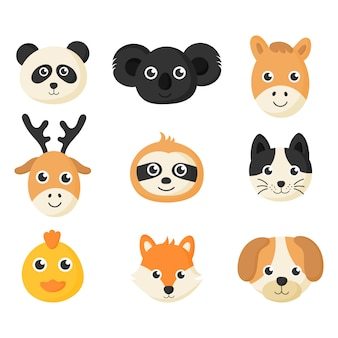 Cute animal faces icon set isolated on white background.