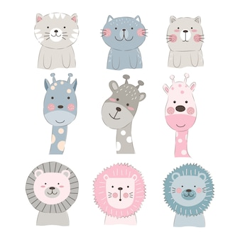 Cute animal faces illustration