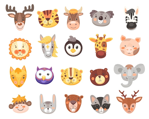 Cute animal faces set with isolated cartoon heads of bear
