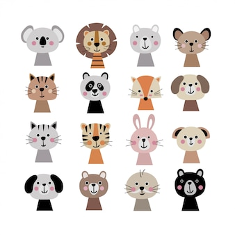 Cute animal faces set