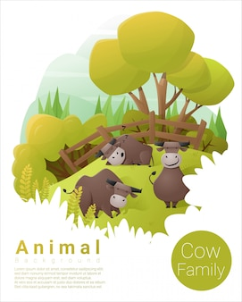 Cute animal family background with cows