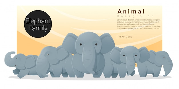 Cute animal family background with elephants