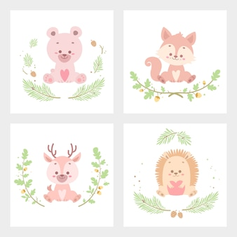 Cute animal flower card vector illustration isolated