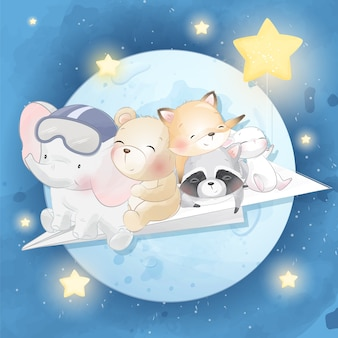 Cute animal flying in the moon