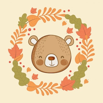 Cute animal foliage hello autumn