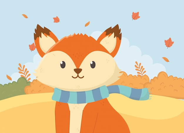 Cute animal foliage hello autumn