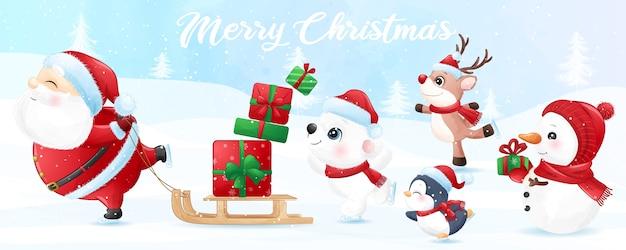 水彩バナーとクリスマスのためのかわいい動物