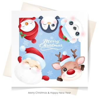 水彩カードでクリスマスのためのかわいい動物