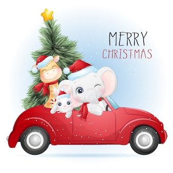 水彩イラストでクリスマスのためのかわいい動物