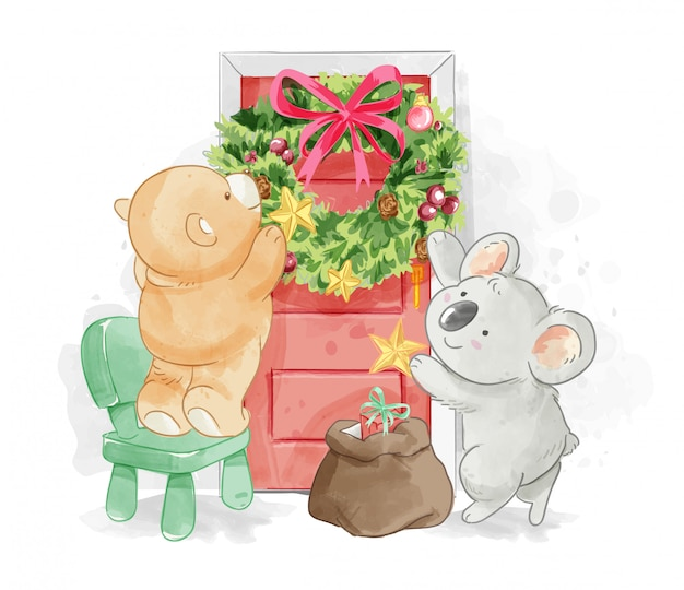 Cute animal friend decorating christmas wreath