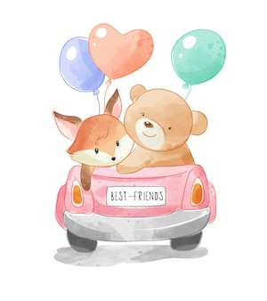 Cute animal friends on convertible car with colorful balloons