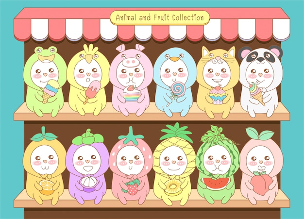 Cute animal and fruit collection